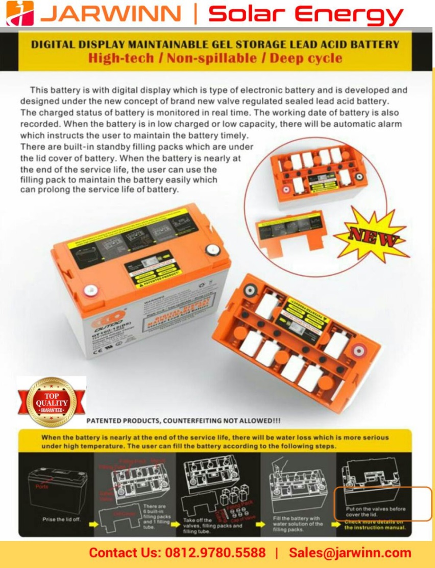 jual gel storage battery solar panel dengan digital screen