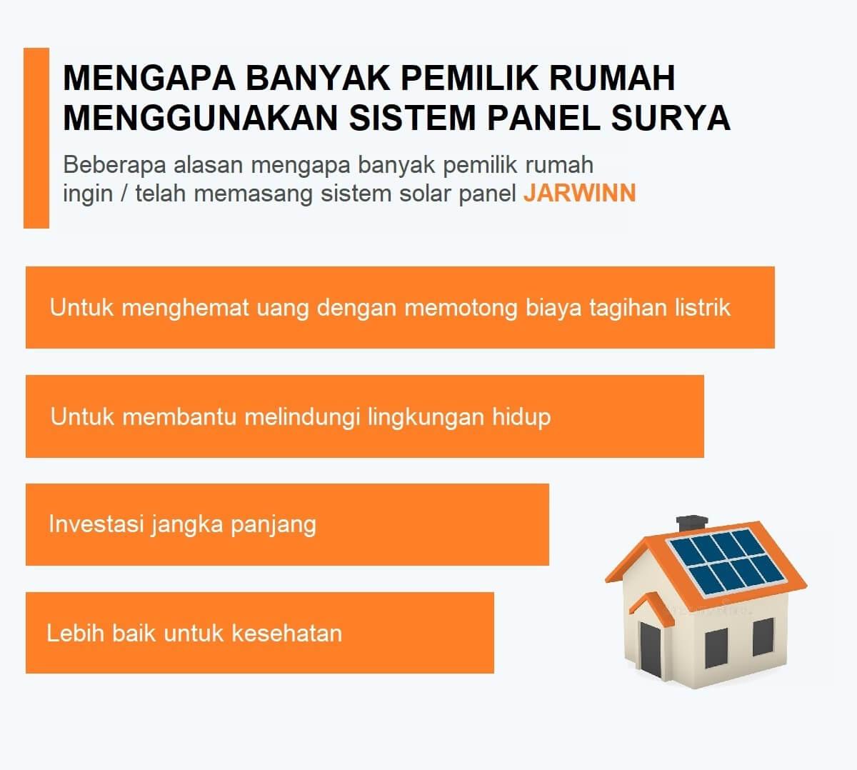 Berbagai alasan mengapa banyak pemilik rumah yang beralih menggunakan sistem panel surya jarwinn: menghemat tagihan listrik, melindungi lingkungan hidup, investasi jangka panjang, dan baik untuk kesehatan
